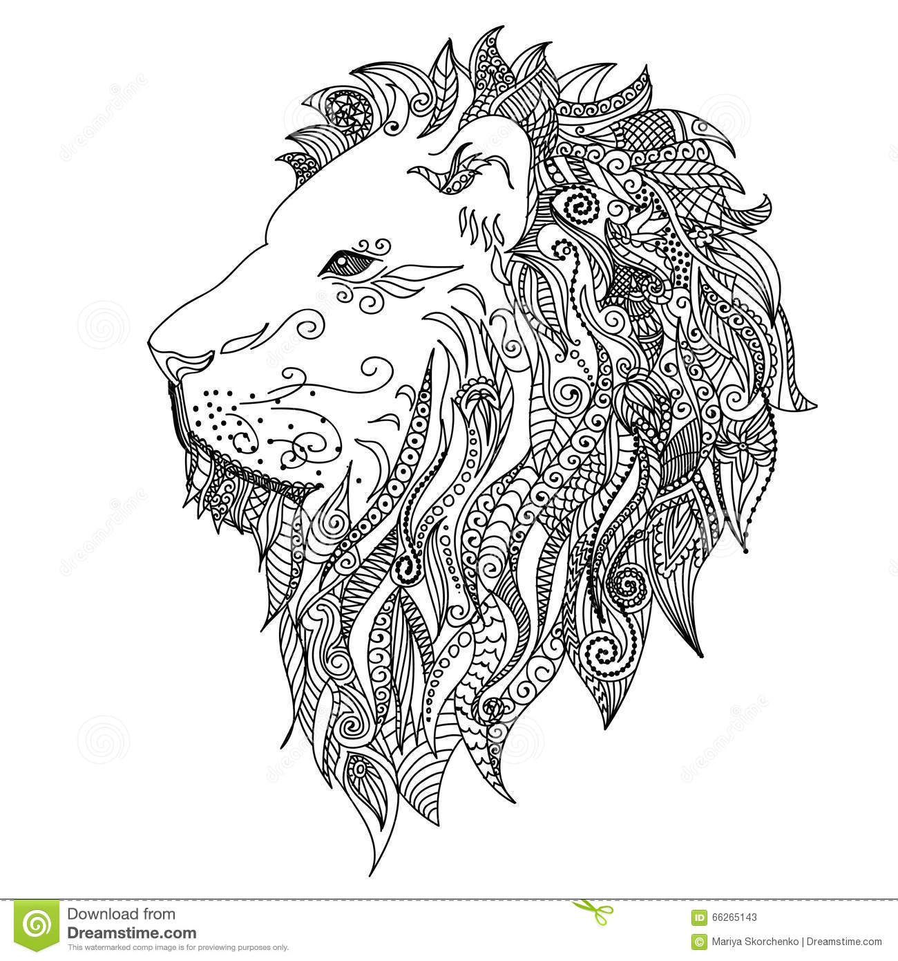Lion. Mehndi Tattoo Doodles Style. Cartoon Vector
