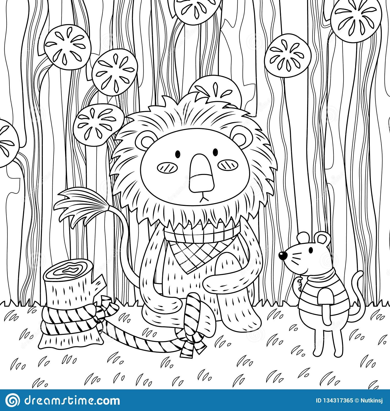 The Lion And The Mouse Colorless Stock Vector