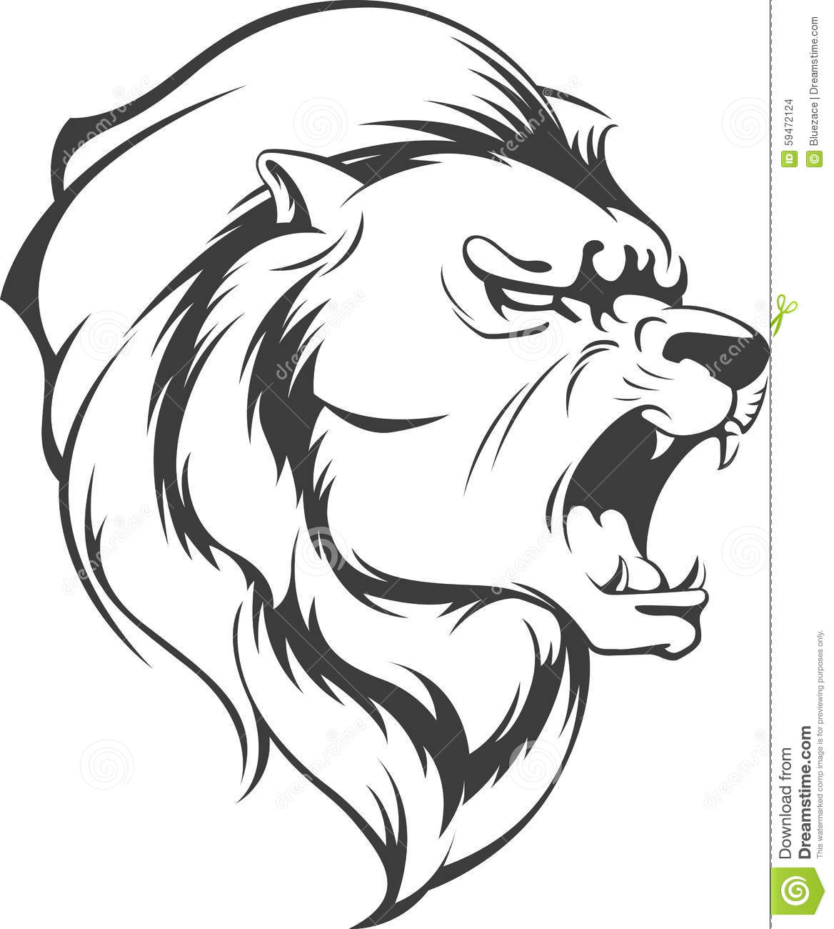 Lion Roaring Vector Silhouette Stock Vector