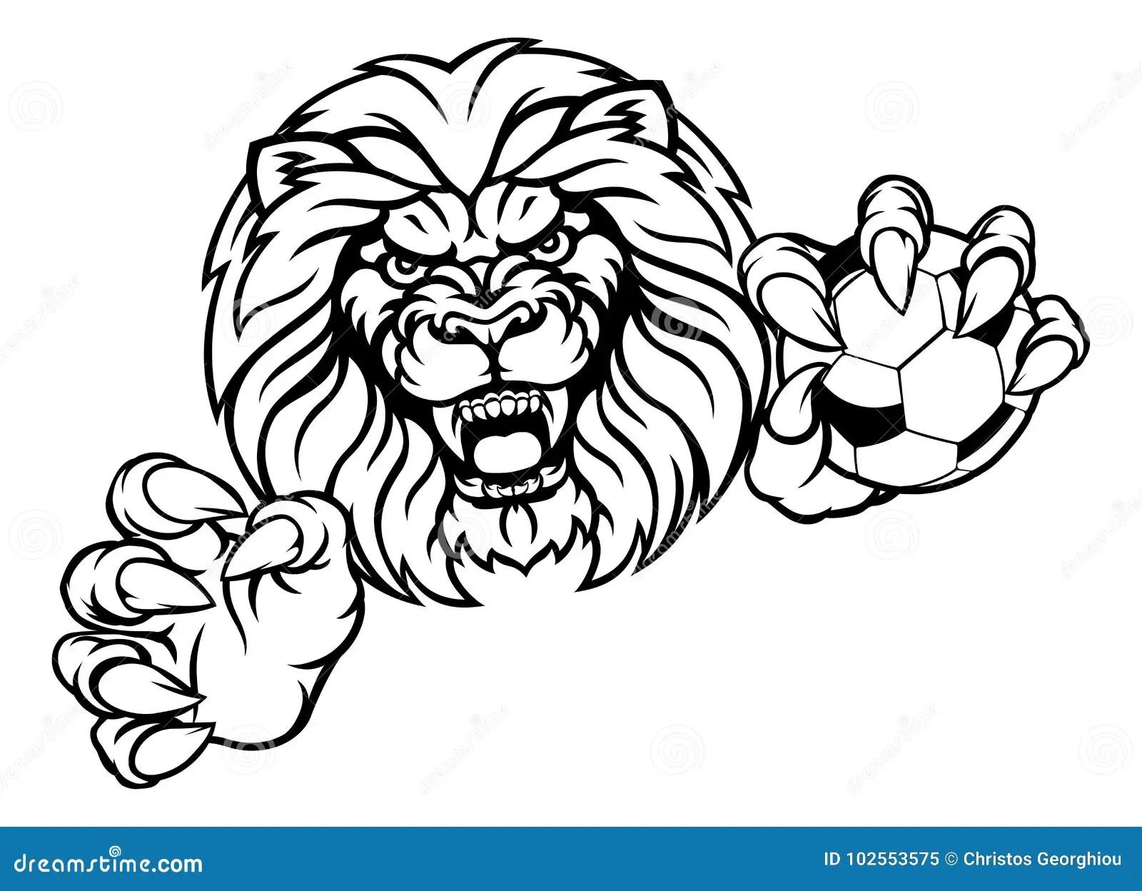 Lion Soccer Ball Sports Mascot Illustrazione Vettoriale
