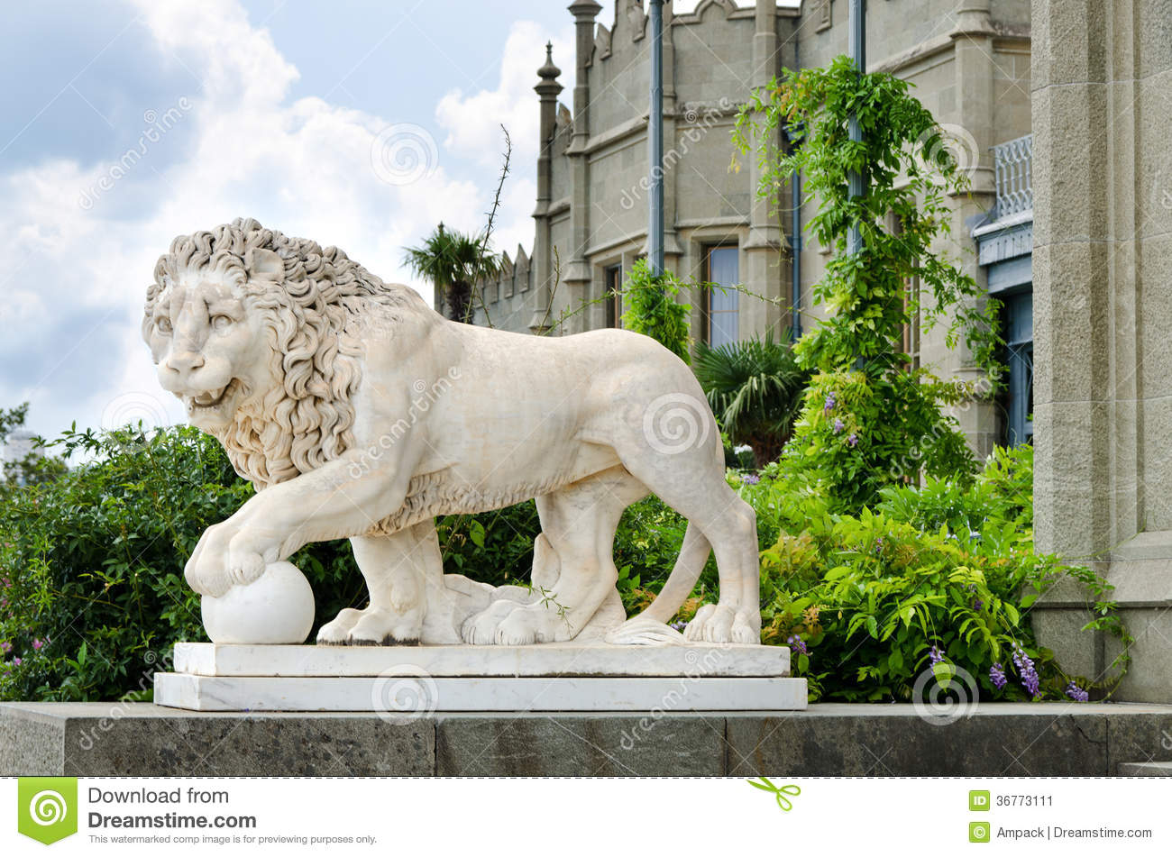 Lion Statue Outside A Castle Stock Image  Image of guardian handcarved 36773111