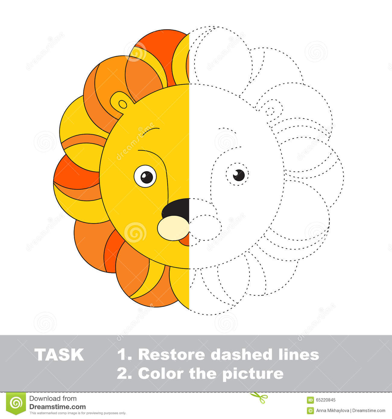 Lion Toy To Be Colored Vector Trace Game Stock Vector