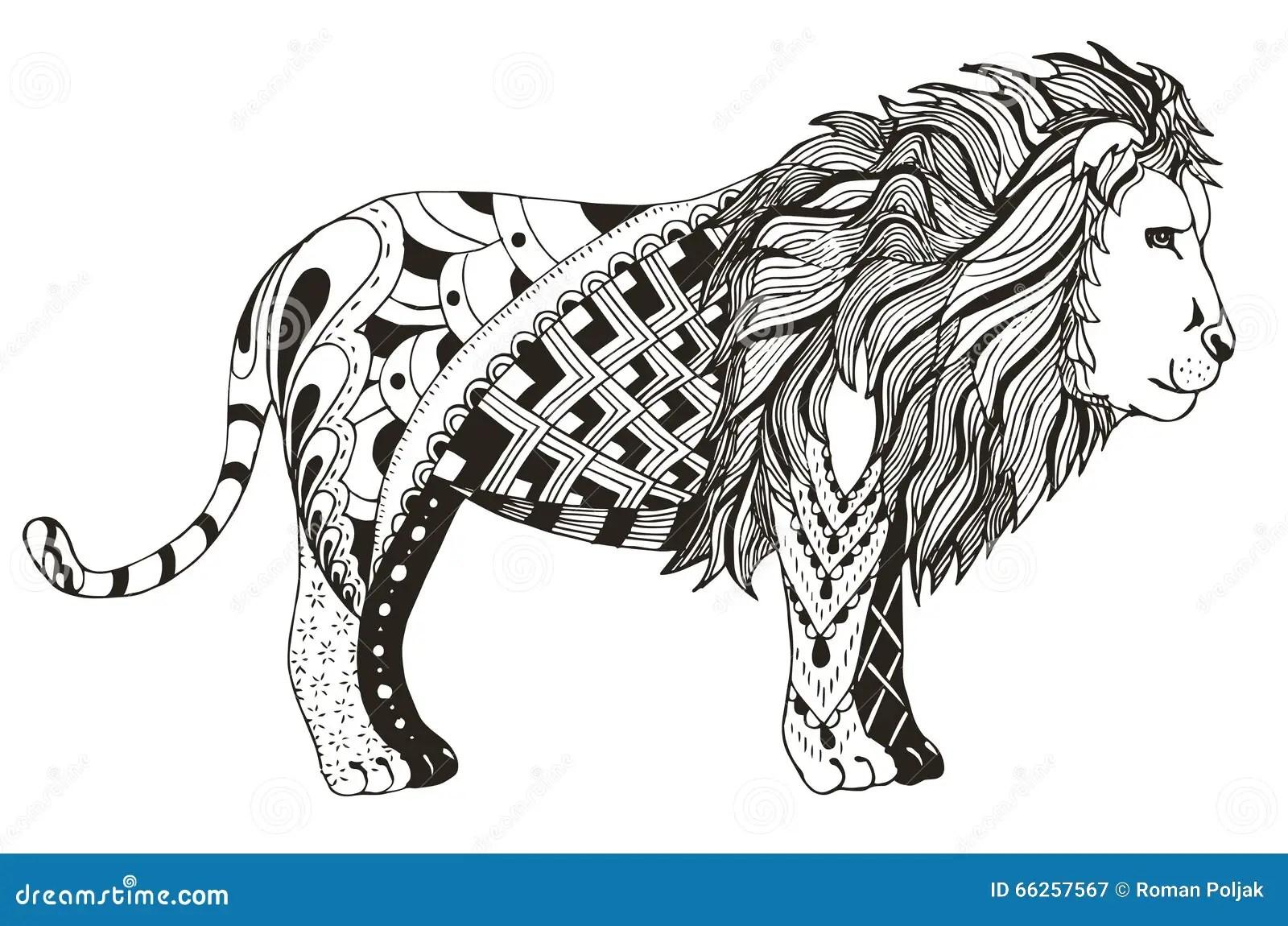 Lion Zentangle Stylized Vector Illustration Freehand