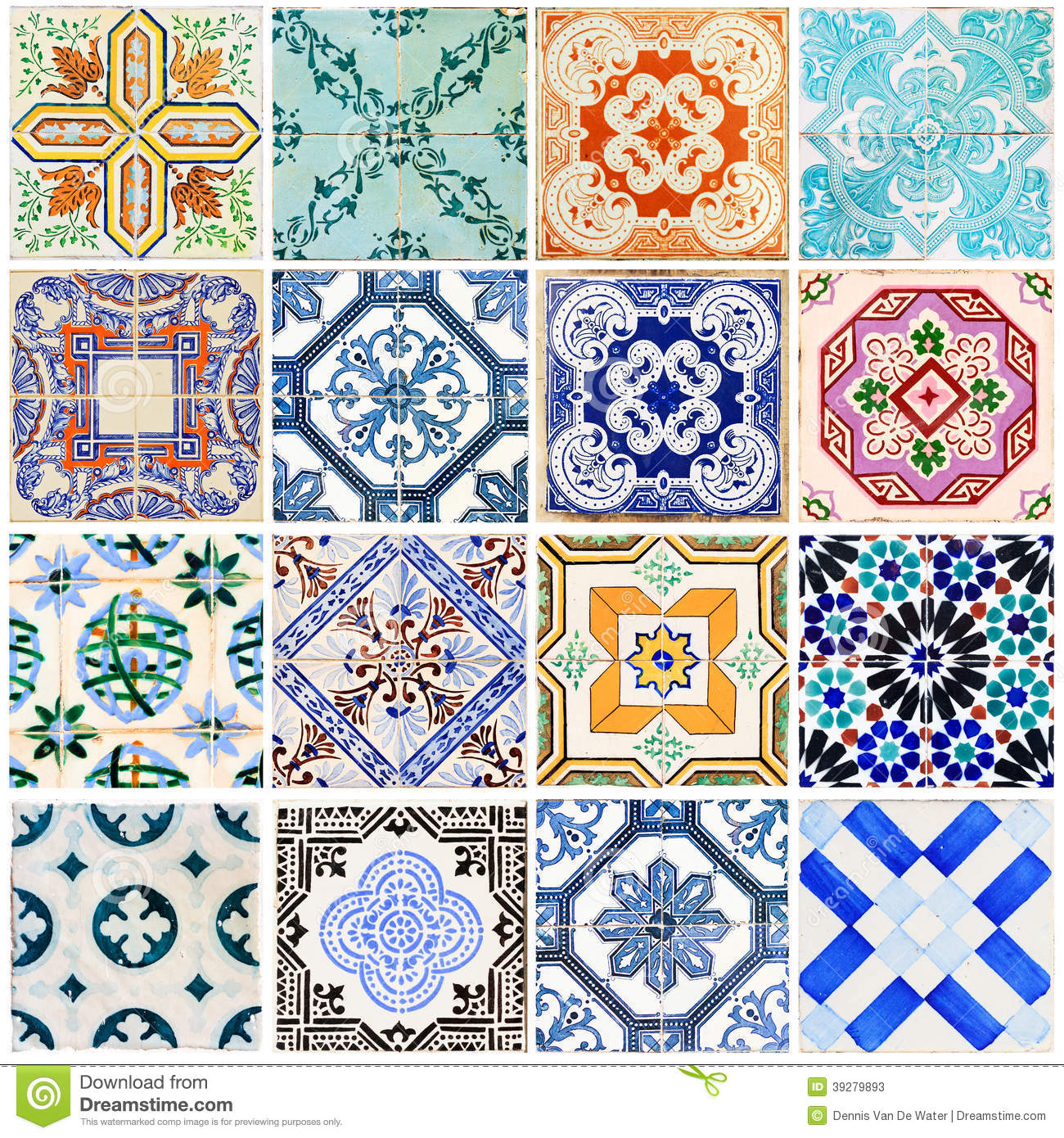 Lisbon tiles collage white stock image Image of floral