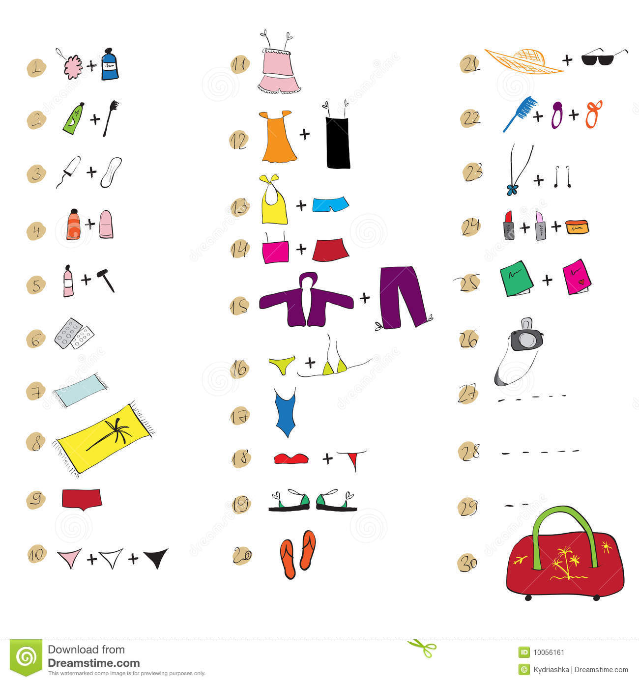 List Of Clothes For Travel Stock Image