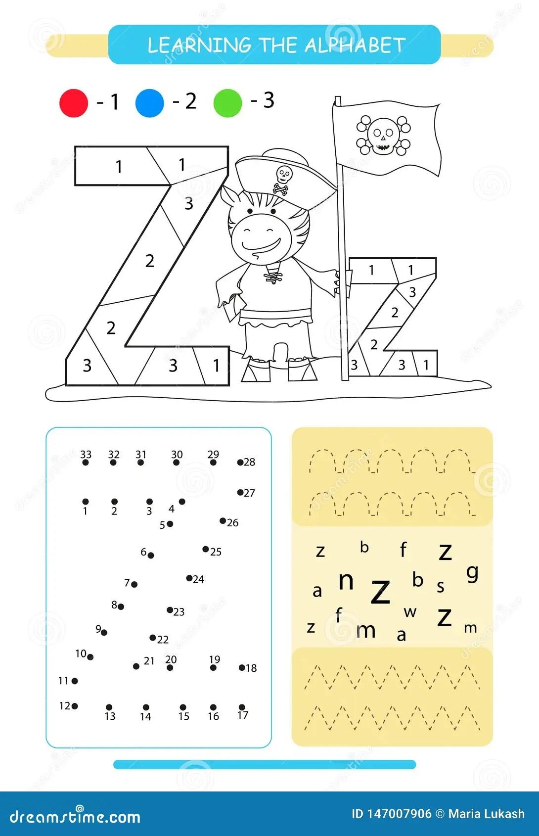 Letter Z And Funny Cartoon Zebra Animals Alphabet A Z