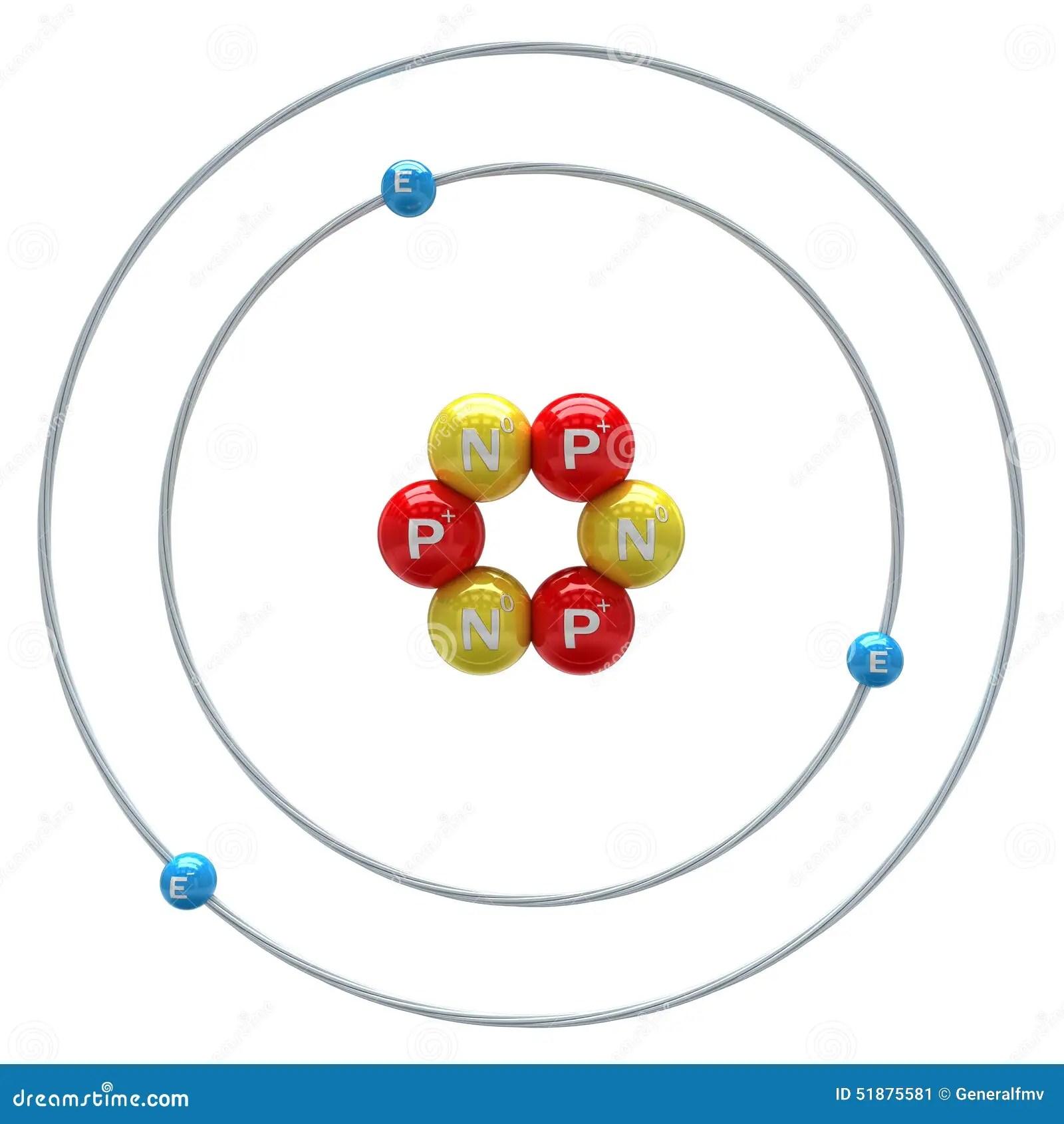 bohr diagram for lithium ford starter solenoid wiring atom on white background stock illustration