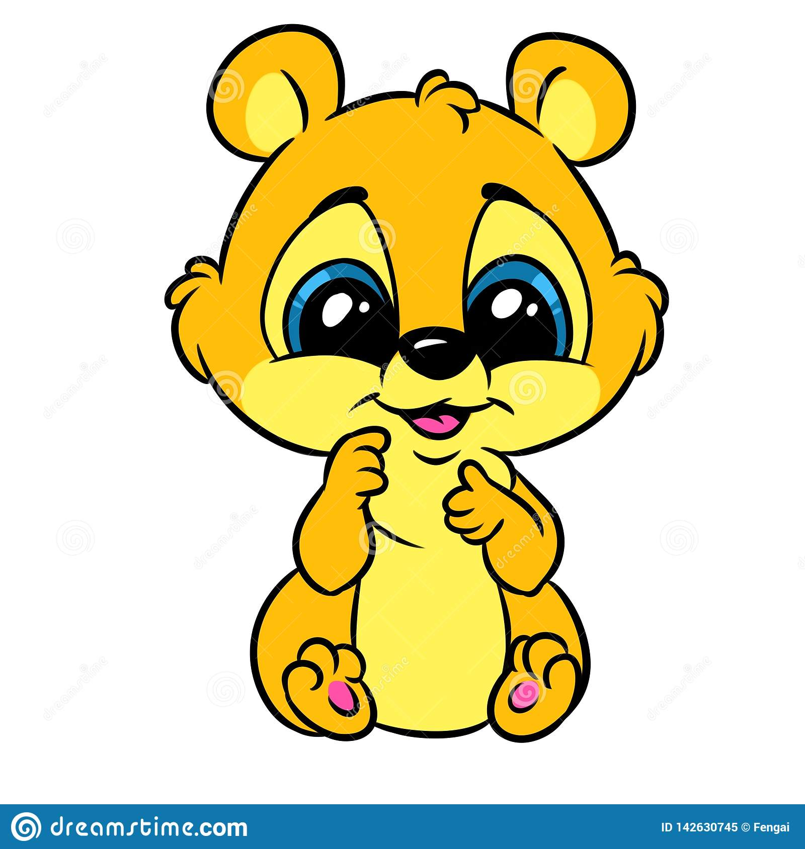 Little Baby Animal Big Eyes Cartoon Stock Illustration