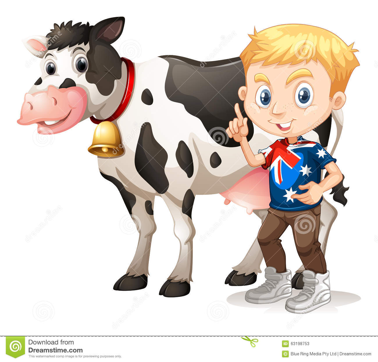Little Boy And A Cow Stock Illustration