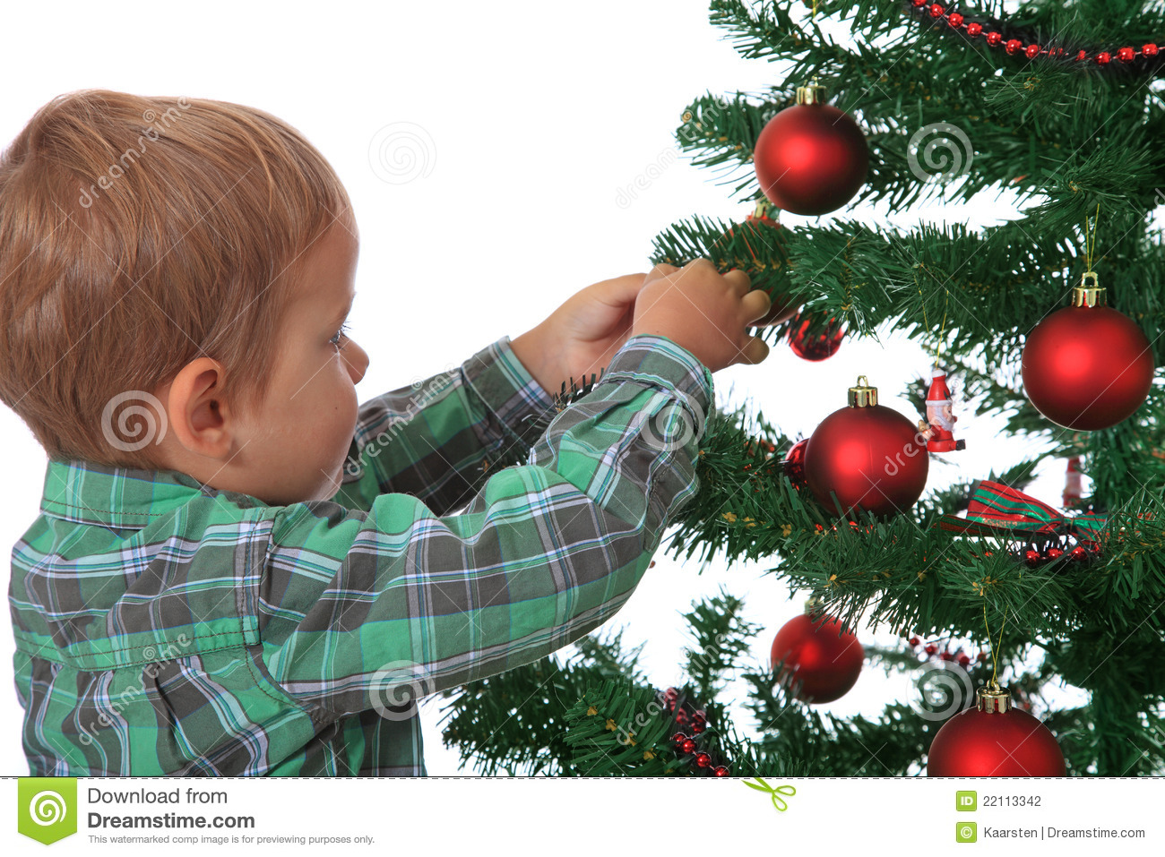 Little Boy Decorating Christmas Tree Stock Photography
