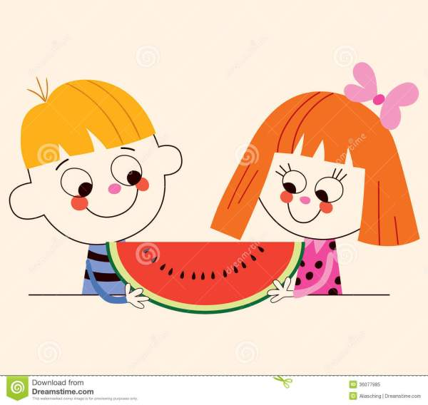 Little Boy And Girl With Watermelon Royalty Free