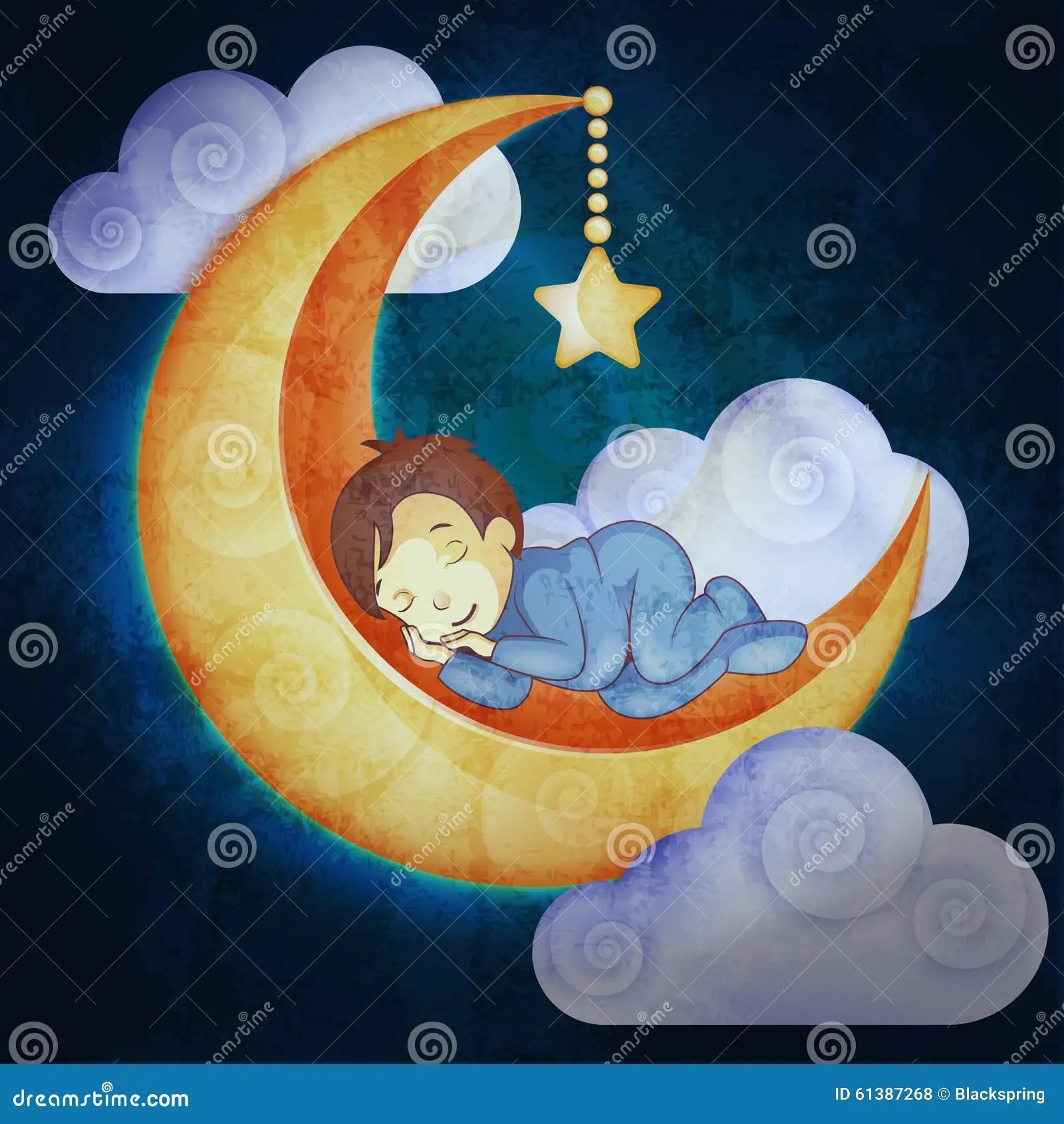 Little Cute Baby Girl Wallpaper Little Boy Sleeping On The Moon Stock Vector Image 61387268
