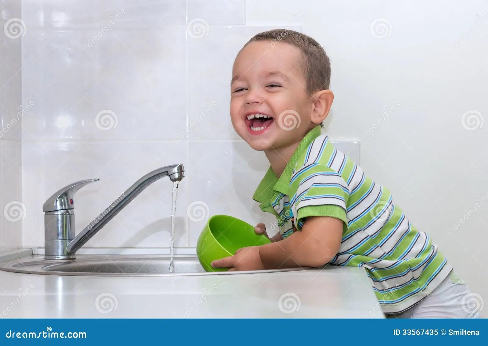 Little Boy Washing Dishes Royalty Free Stock Photo  Image
