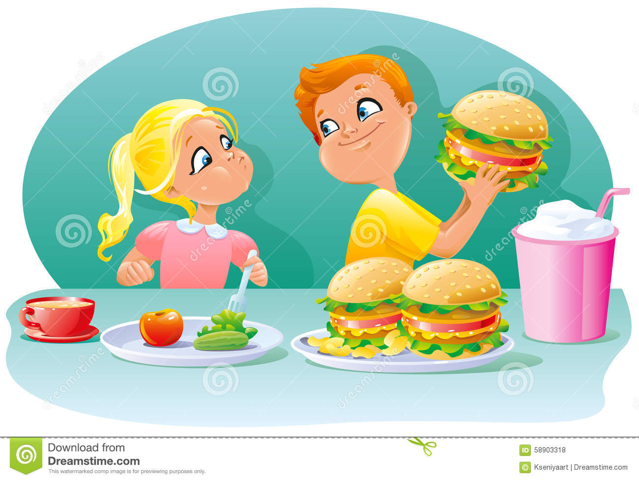 Little Children Boy And Girl Eating Healthy Junk Food