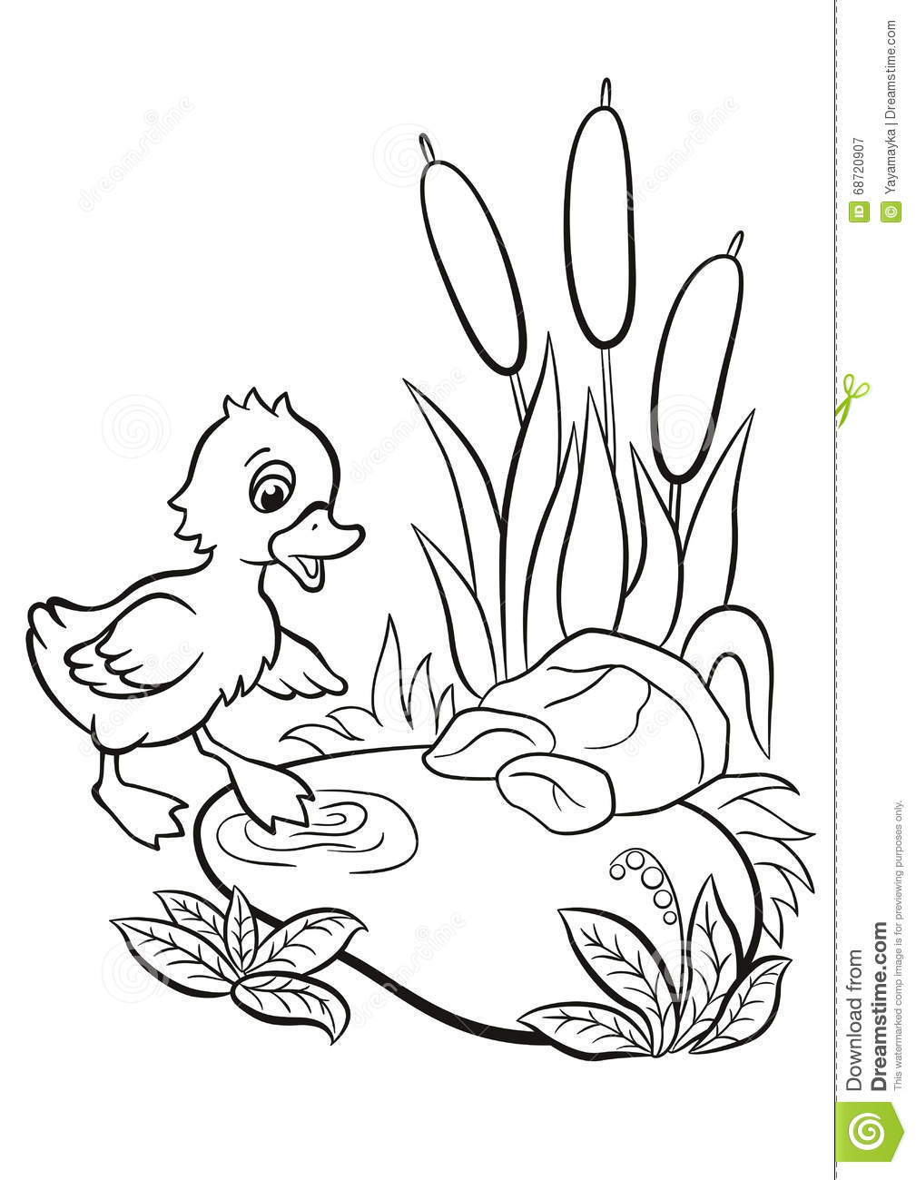 Little Cute Duckling Tries To Go To The Pond. Stock Vector