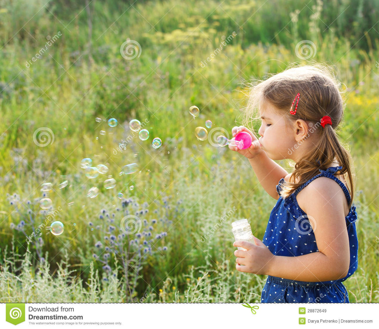 Cute Little Girl Playing Bubble Wallpaper Little Cute Girl Blowing Soap Bubbles Royalty Free Stock
