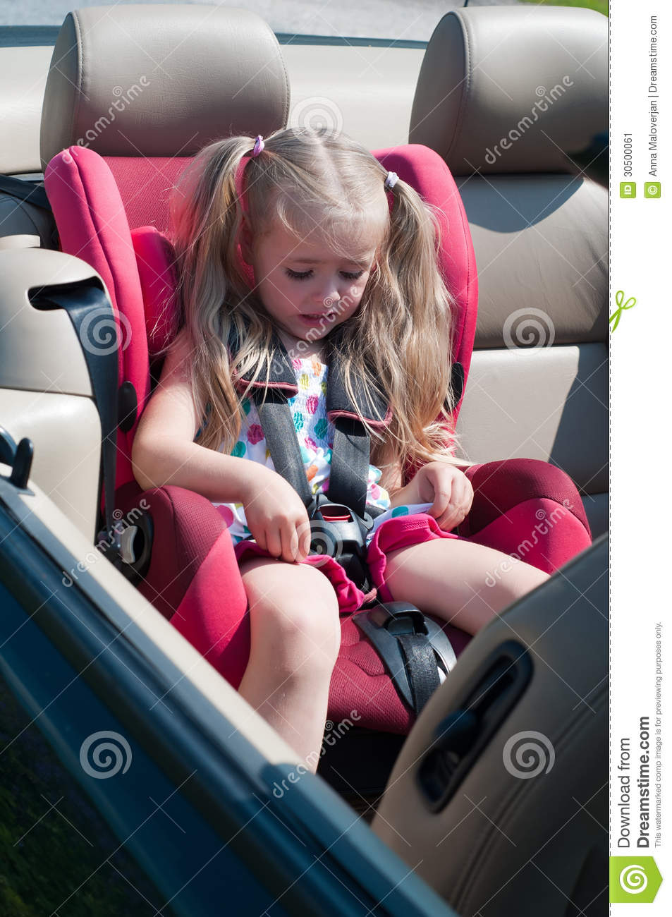 Little Cute Girl Sitting In Car Seat Stock Image  Image