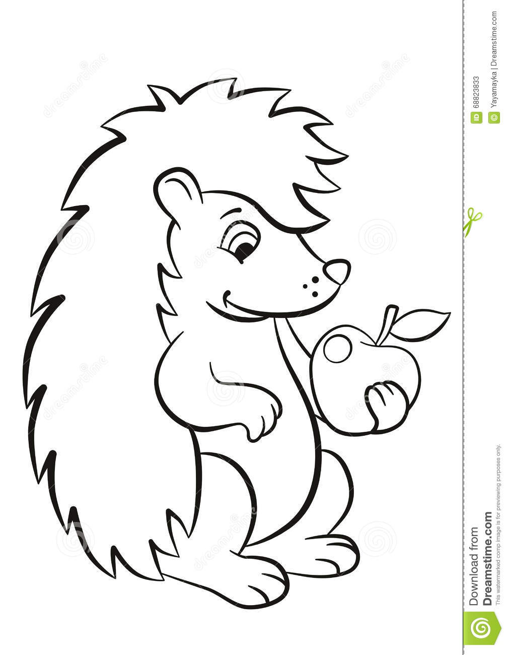 Little Cute Hedgehog Holds An Apple In The Paw. Stock