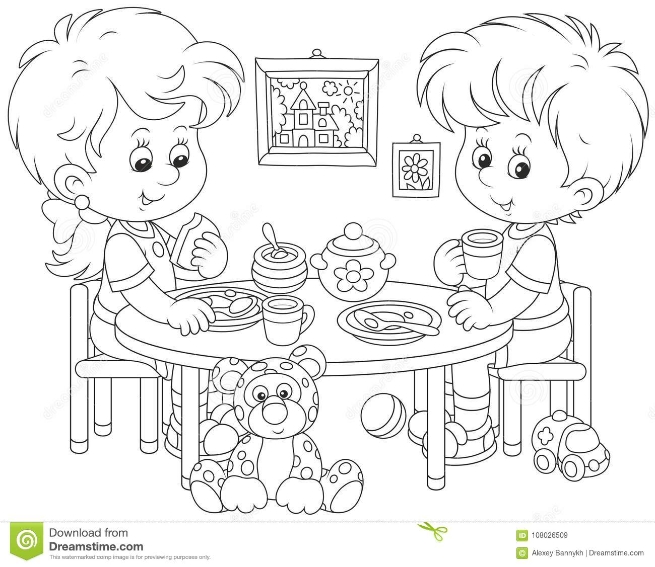 Children At Breakfast Stock Vector Illustration Of