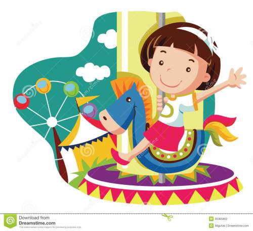 small resolution of little girl on carousel horse stock photography image carousel unicorn vector carousel horse clip art