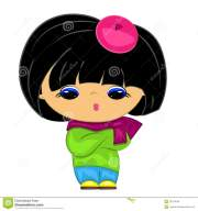 little girl. cartoon kid stock