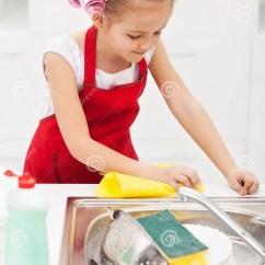 Kitchen Utensil Backsplash Tile Designs Little Girl Cleaning The Royalty Free Stock Photos ...