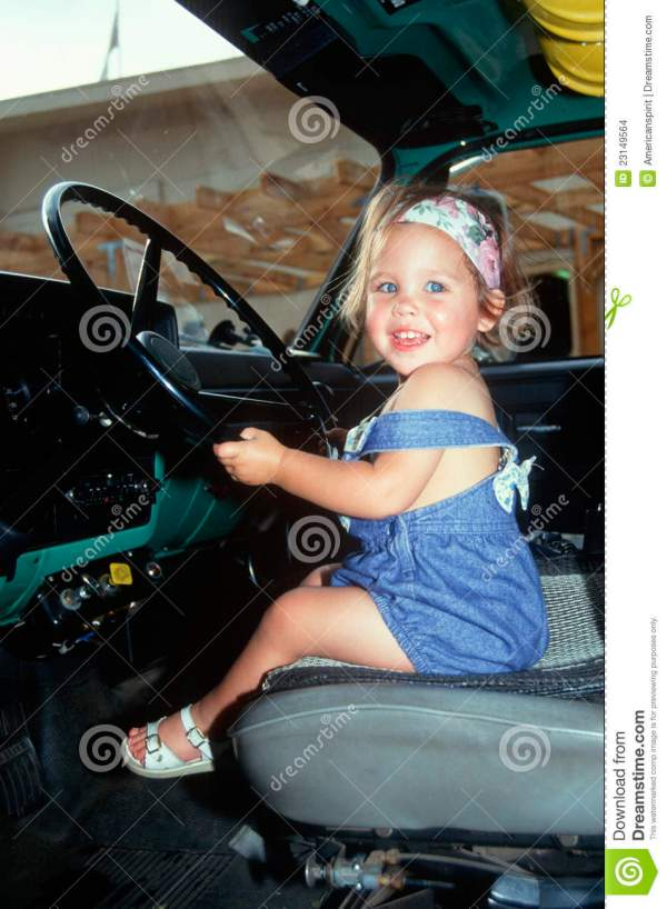 Little Girl In Driver39s Seat Of Big Rig Truck Editorial