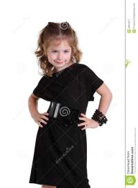 Little Girl In A Fashionable Black Dress Royalty Free ...