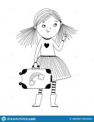 Outline Little Girl Clipart Black And White Get Images Four
