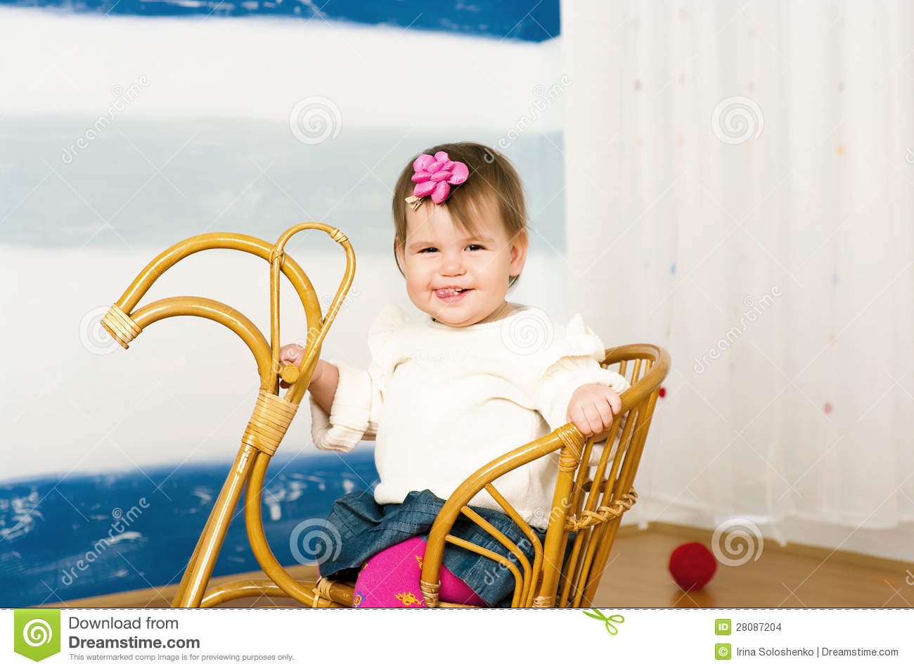 little girl rocking chair folding covers white on a horse stock images image