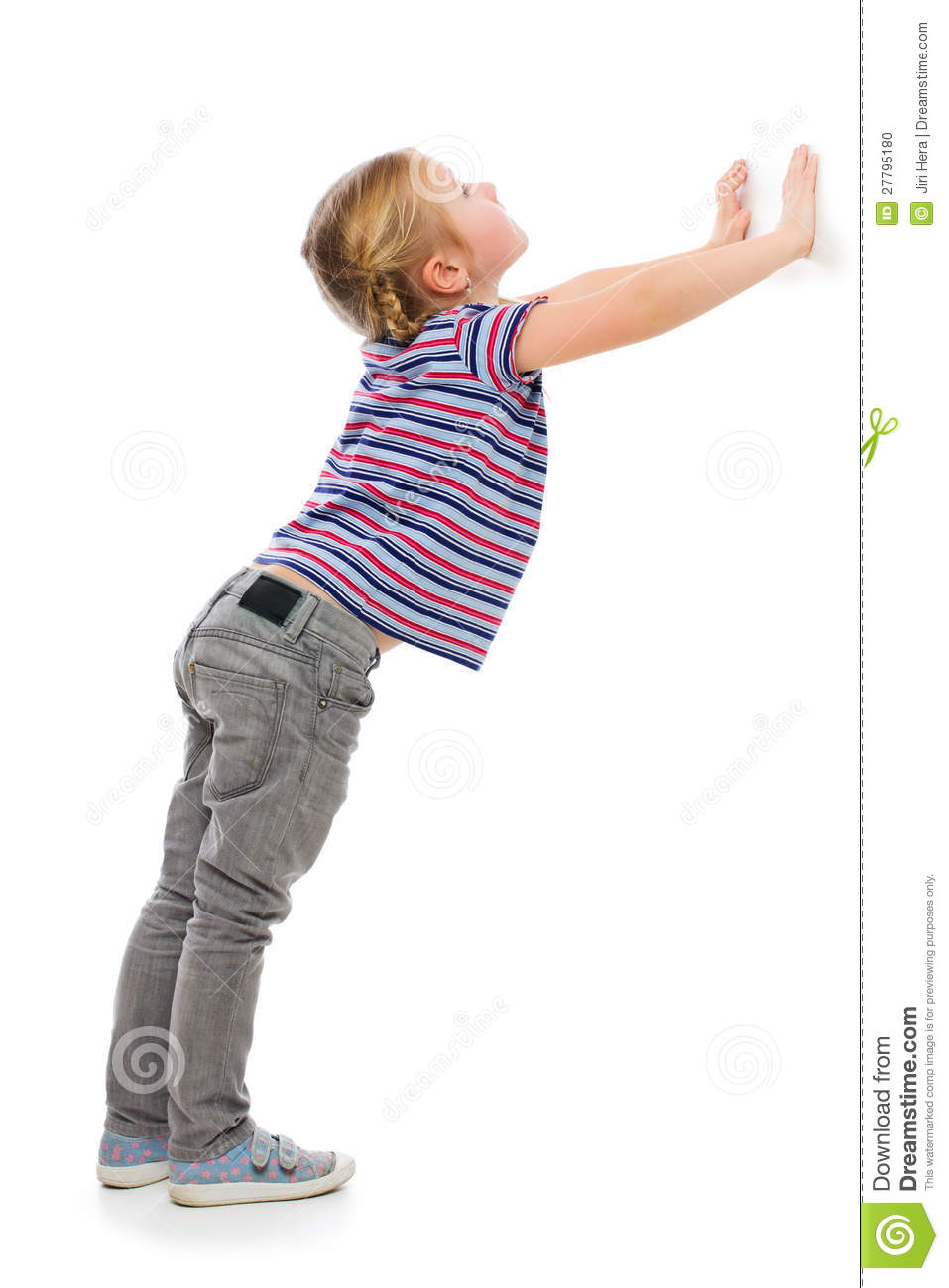 Little Girl Leaning Against A White Wall Stock Photo  Image 27795180