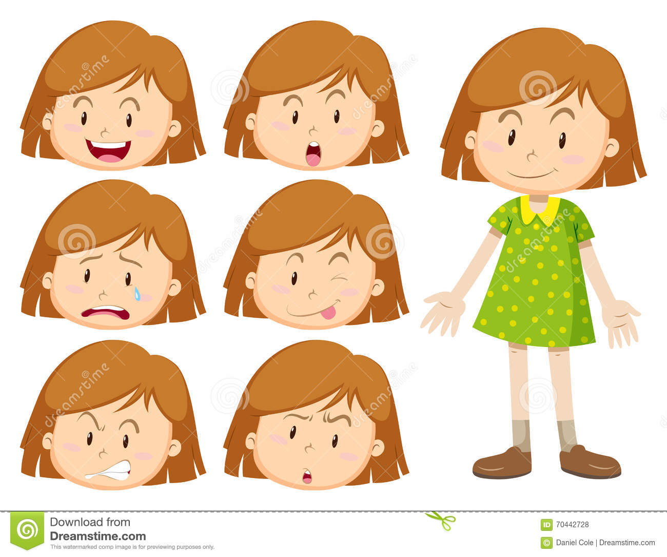 Little Girl With Many Facial Expressions Stock Vector