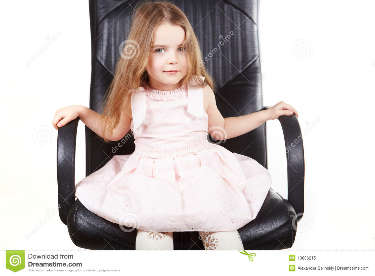 Girls Office Chair Little Girl On Office Chair Royalty Free Stock Photo