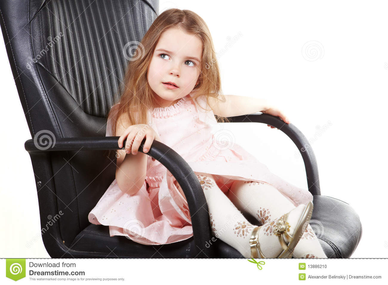 Girls Office Chair Little Girl On Office Chair And Ask Stock Photo Image
