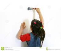 Little Girl Painting A Wall Stock Images - Image: 808054