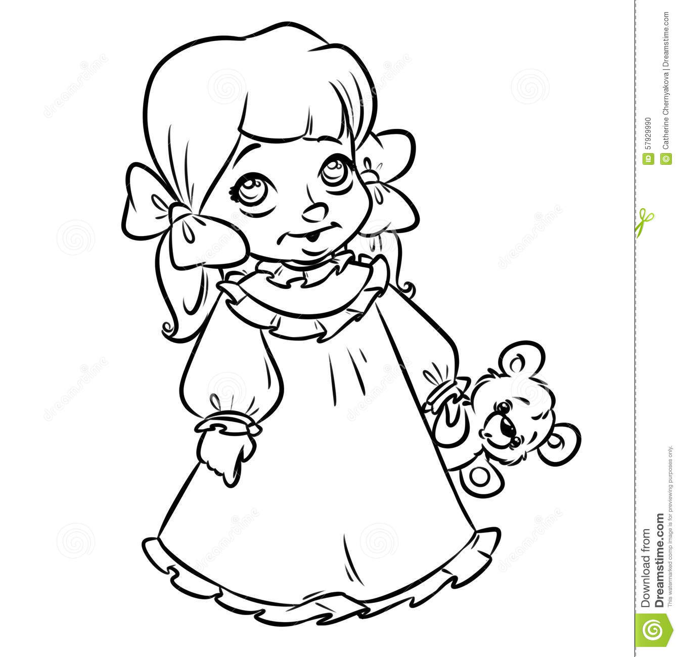 Little Girl Pajamas Coloring Pages Stock Illustration