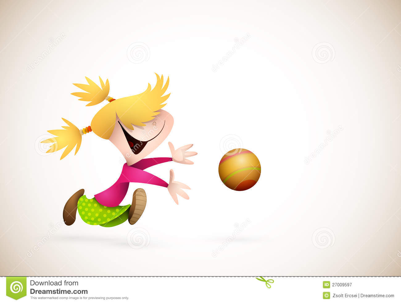 Cute Boy And Girl Cartoon Wallpaper Little Girl Playing Handball Stock Vector Image 27009597