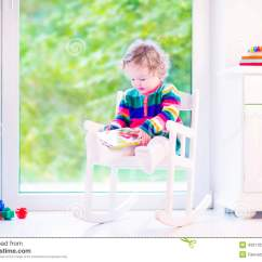 Toddler Reading Chair Terry Cloth Lounge Covers Little Girl A Book Stock Photo Image 43311035