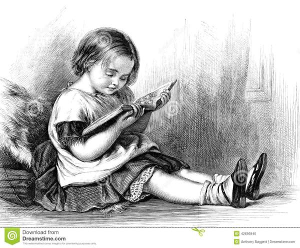 Little Girl Reading Book Stock Illustration