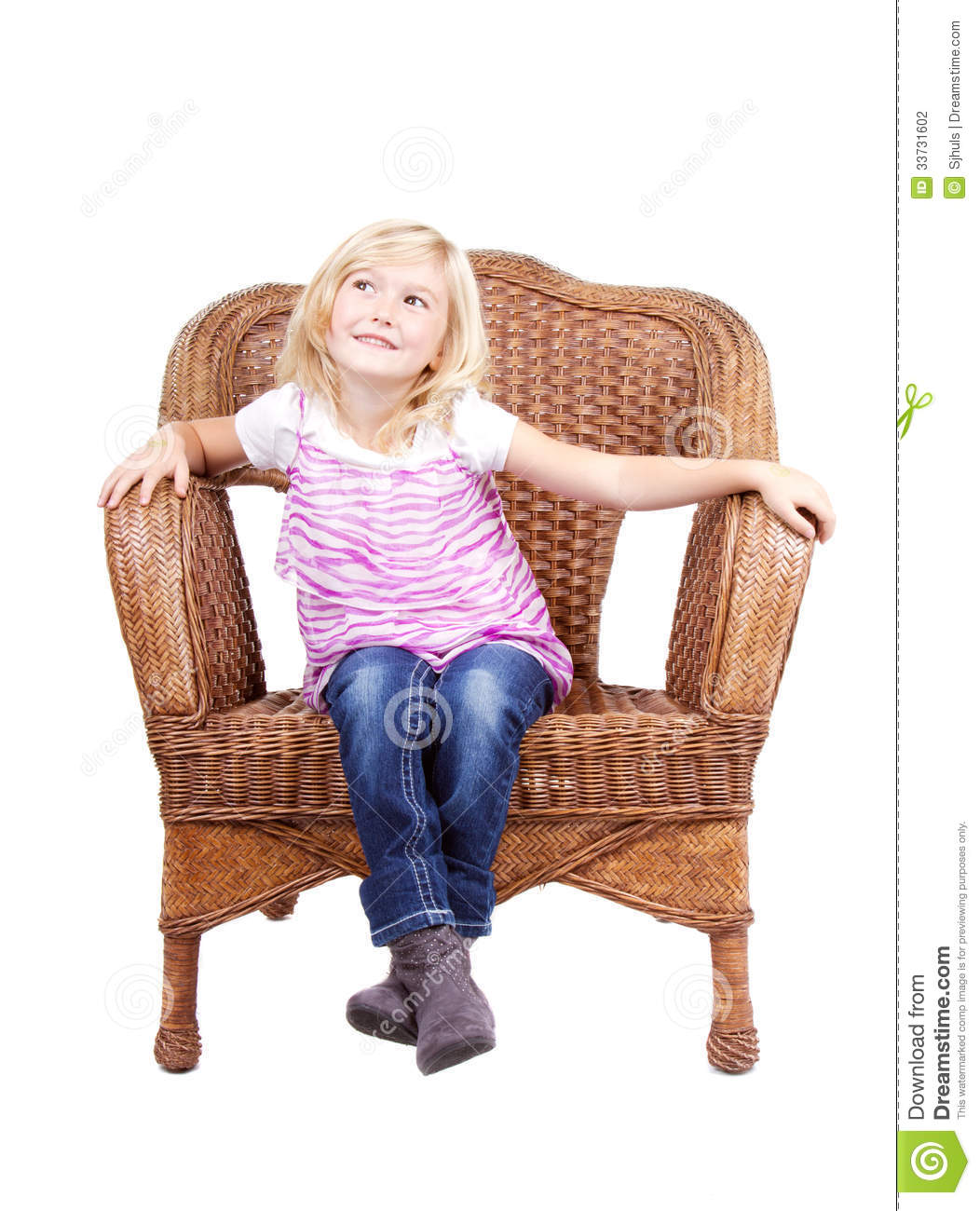 little girls chairs ethan allen dining with arms girl sitting on a chair stock photography image
