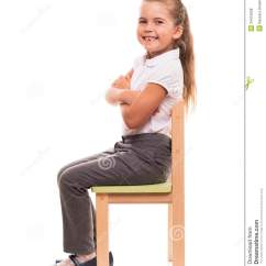 Little Girl Chairs Meshone Folding Chair Sitting On A And Smiling Stock Photo Image Of It S Comfortable To Posing While
