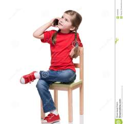 Little Girls Chairs Feel Good Girl Sitting On A Chair And Speaking By Smartphone