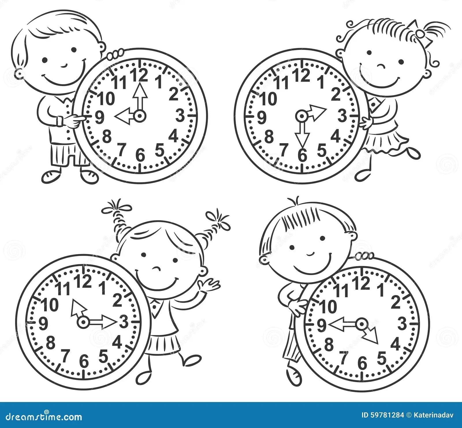 Little Kids Telling Time Set Stock Vector