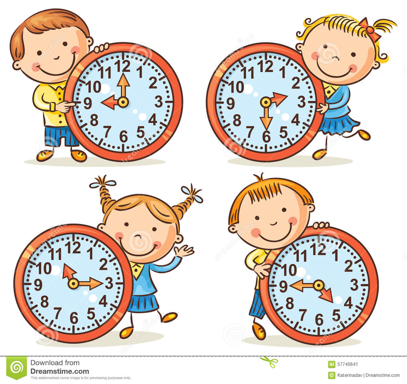 Little Kids Telling Time Set Stock Vector