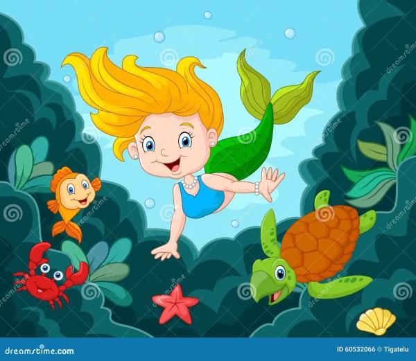 Little Mermaid With Sea Animals Stock Vector - 60532066