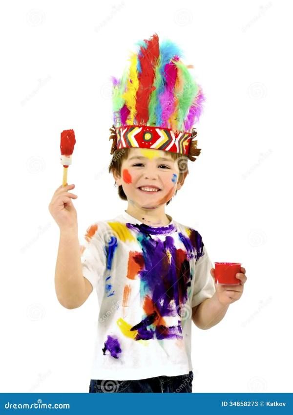 Little Messy Artist Indian Costume Stock