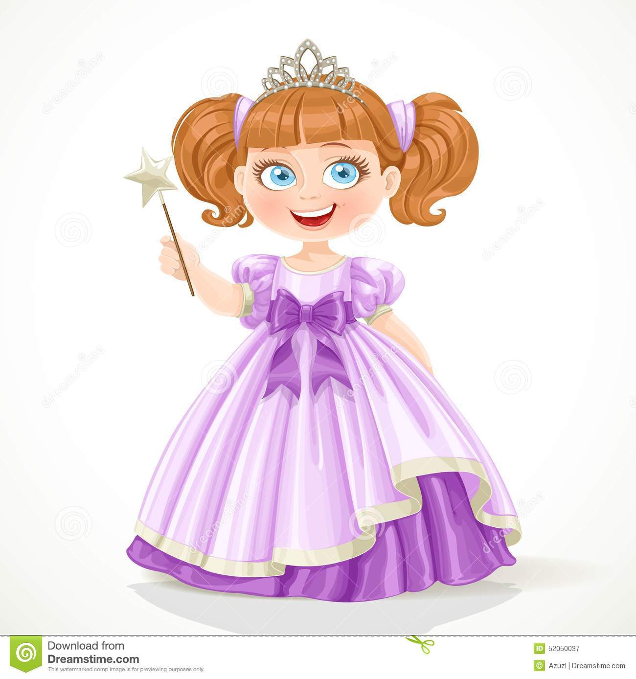 Wallpaper Cute Little Girl Cartoon Little Princess In Purple Dress And Tiara Holding Magic