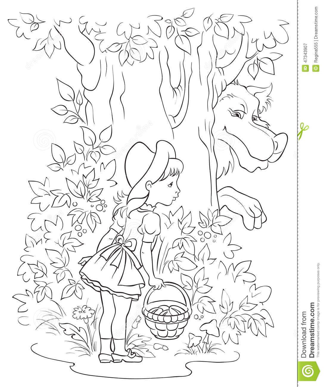 Little Red Riding Hood And Wolf. Colouring Page Stock