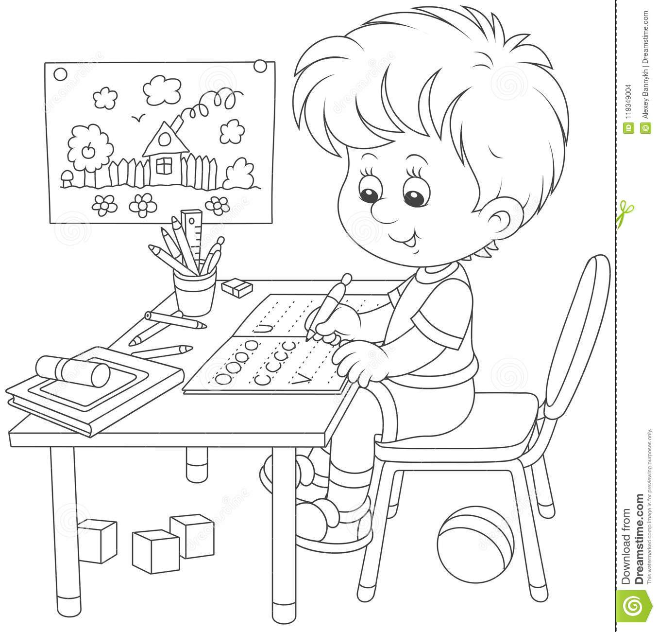 The Daily Day For Boy Student For Coloring Vector