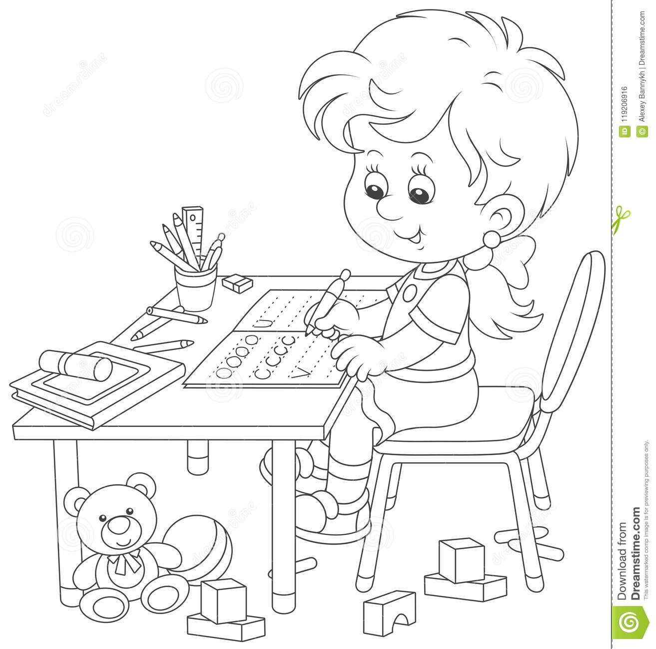 Girl Doing Homework After Her Game With Toys Stock Vector